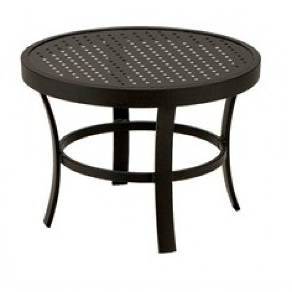 "24"" Round Stamped Aluminum Top Side Table"