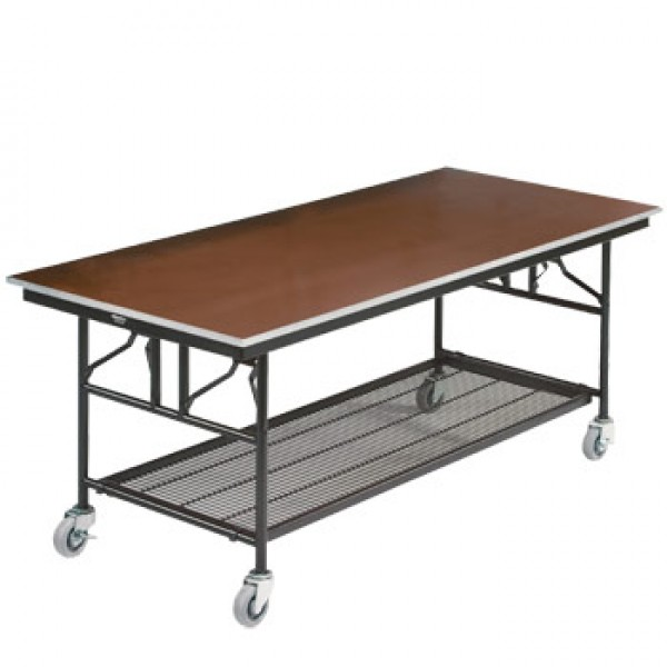 "30"" x 72"" Rectangular Folding Utility Table with Wheels"
