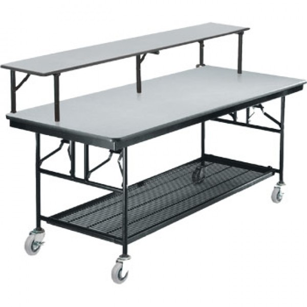 "30"" x 96"" Rectangular Folding Bar/Buffet Table with Wheels"
