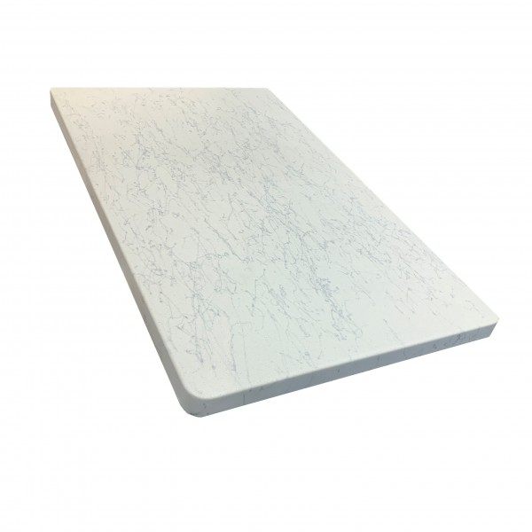 30x42 Fiberglass Faux Carrara Marble Outdoor Commercial Restaurant Hotel Cafe Hospitality Table Top