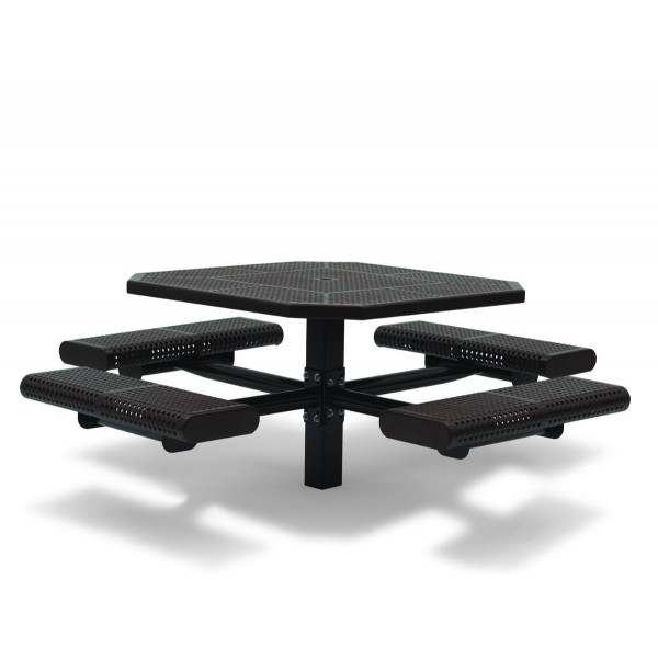 "46"" Octagon ADA Compliant Plastisol Table with Umbrella Hole and Attached Seats - In Ground"