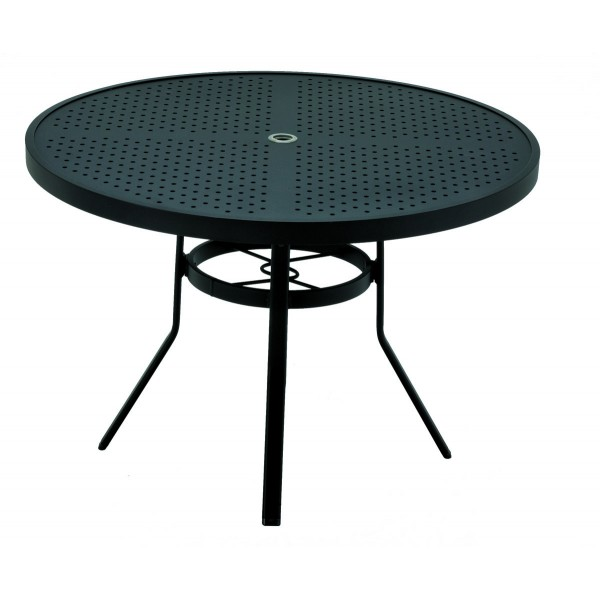 "48"" Round Stamped Aluminum Top Dining Table with Umbrella Hole"