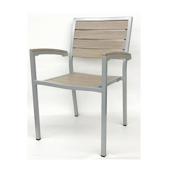 543AG Capri Stackable Aluminum Wood Look Commercial Hospitality Restaurant Bar Cafe Outdoor Patio Arm Chair