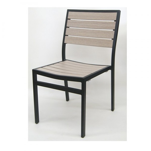 543SB Capri Stackable Aluminum Wood Look Commercial Hospitality Restaurant Bar Cafe Outdoor Patio Side Chair