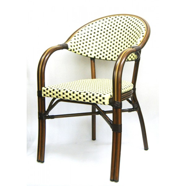 606AW Marseille French Cafe Bistro Rattan Woven Bamboo Parisian Arm Chair