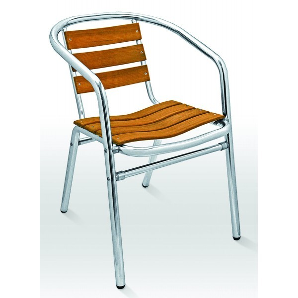 Aluminum And Wood Composite Restaurant Arm Chairs Stacking Arm Chair AL-302TK