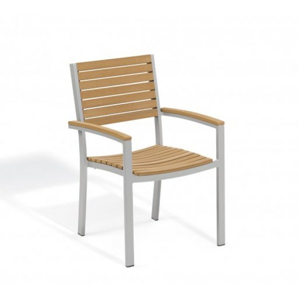 Aluminum And Wood Composite Restaurant Arm Chairs Travira Armchair - Tekwood Natural