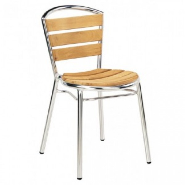 Aluminum And Wood Composite Restaurant Side Chairs Aluminum Side Chair With Wood Slats T101