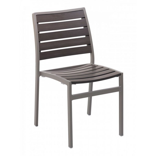 Aluminum And Wood Composite Restaurant Side Chairs Mediterranean II Sidechair