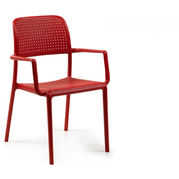 Bora Stacking Resin Arm Chair - Red