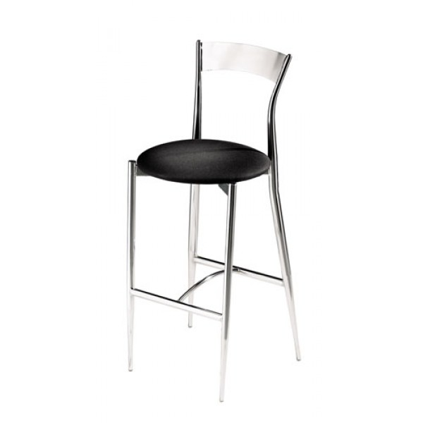 Caf&eacute Twist Bar Stool with Upholstered Seat and Metal Back 193