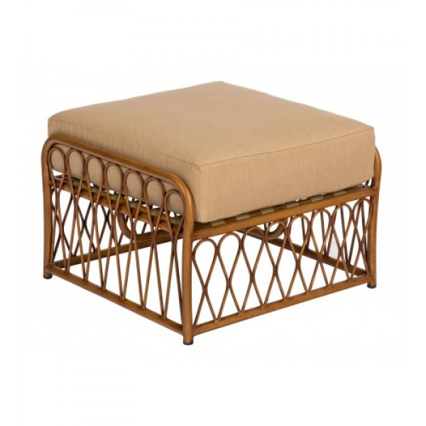 Cane S650005 Aluminum Bamboo Outdoor Upholstered Restauarnt Hotel Lounge Seating Ottoman