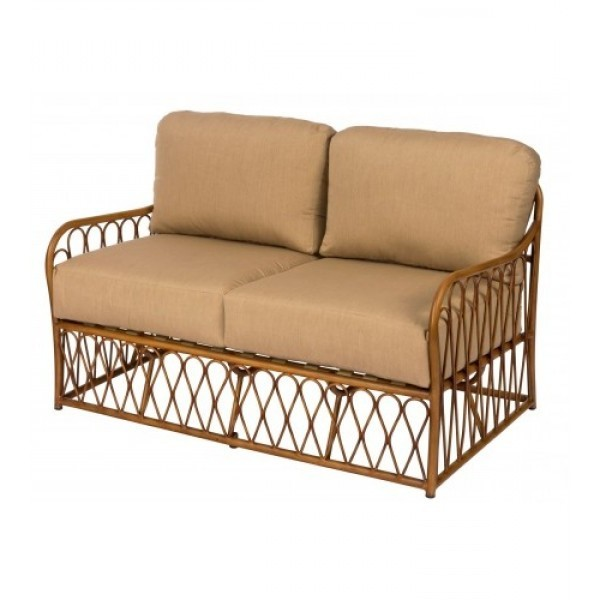 Cane S650021Aluminum Bamboo Outdoor Upholstered Restauarnt Hotel Lounge Seating Loveseat