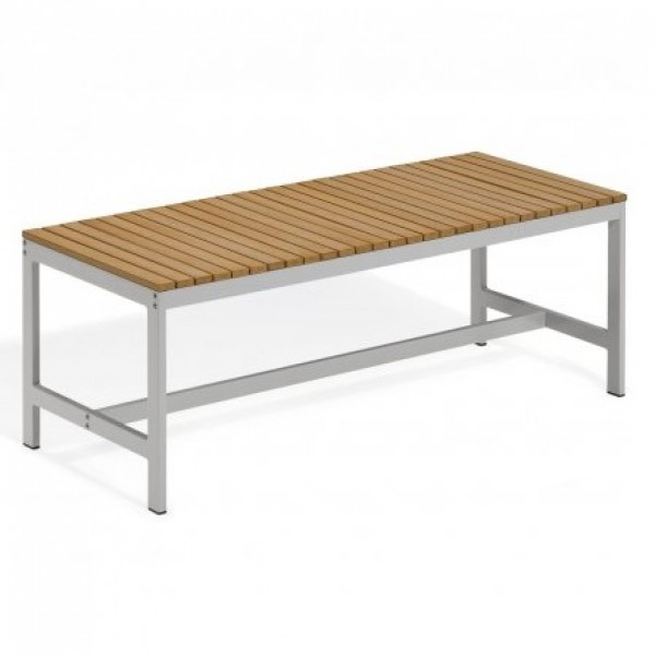 Carrillo Travira Aluminum and Teak Composite Restaurant Cafe Bar Hospitality Commercial backless bench