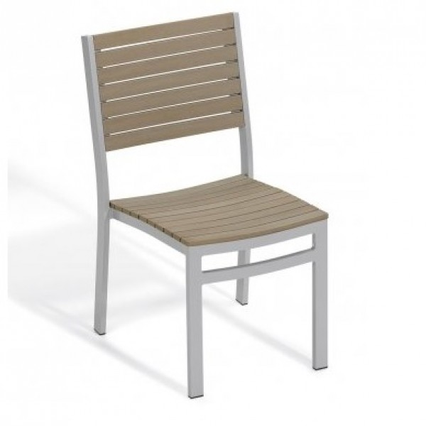 Carrillo Travira Aluminum and Teak Composite Restaurant Cafe Bar Hospitality Commercial Side Chair Stackable