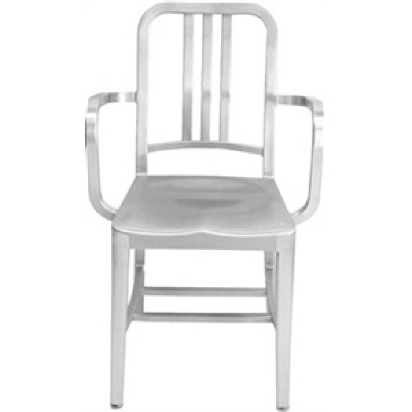 Eco Friendly Restaurant Breakroom Furniture Navy Aluminum Arm Chair