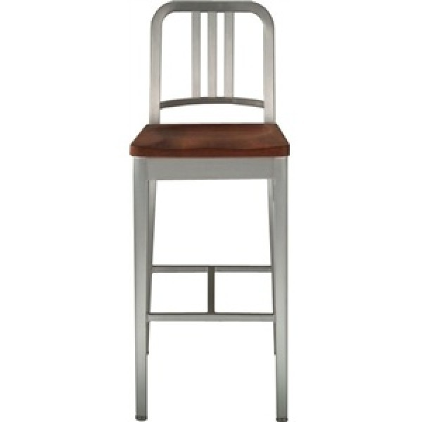 Eco Friendly Restaurant Breakroom Furniture Navy Aluminum Bar Stool with Natural Wood Seat