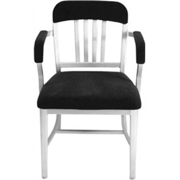 Eco Friendly Restaurant Breakroom Furniture Navy Aluminum Semi-Upholstered Arm Chair