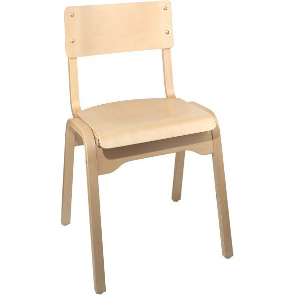 European Beech Solid Wood Restaurant Stackable Chairs Holsag Carlo Stacking Side Chair - Natural Finish
