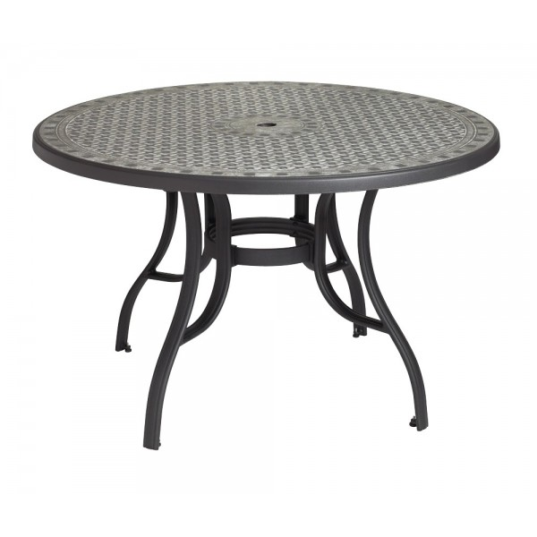 "Restaurant Outdoor Tables Cordoba 48"" Round Table with Metal Legs and Umbrella Hole"