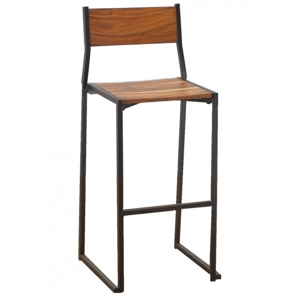 Industrial commercial restaurant barstool with wood seat and back