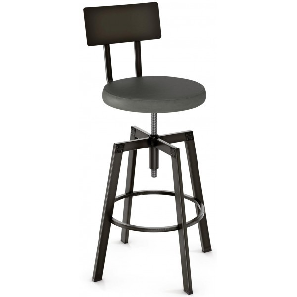 Industrial Restaurant Bar Stools Architect Screw Barstool With Upholstered Seat Metal Back