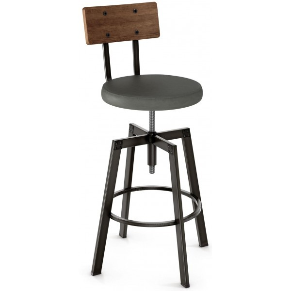 Industrial Restaurant Bar Stools Architect Screw Barstool With Upholstered Seat Wood Back