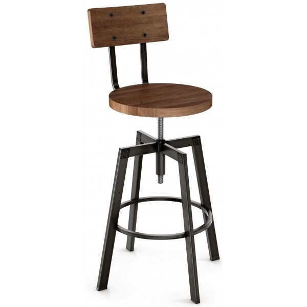 Industrial Restaurant Bar Stools Architect Screw Barstool With Wood Seat And Back