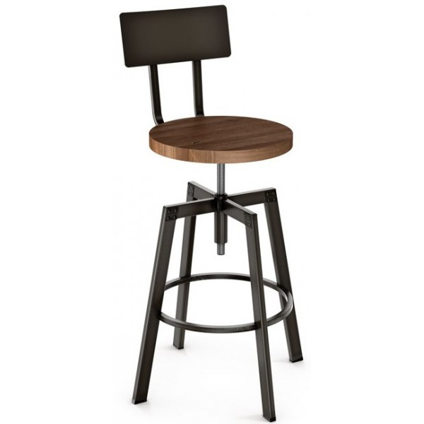 Industrial Restaurant Bar Stools Architect Screw Barstool With Wood Seat Metal Back
