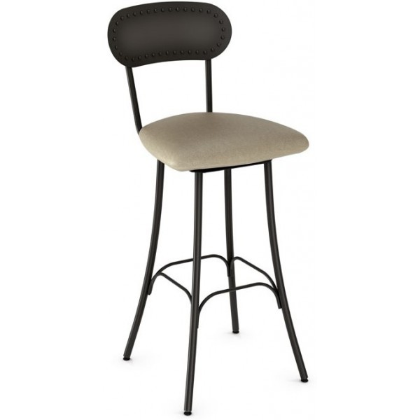Industrial Restaurant Bar Stools Bean Swivel Barstool - Upholstered Seat and Metal Back