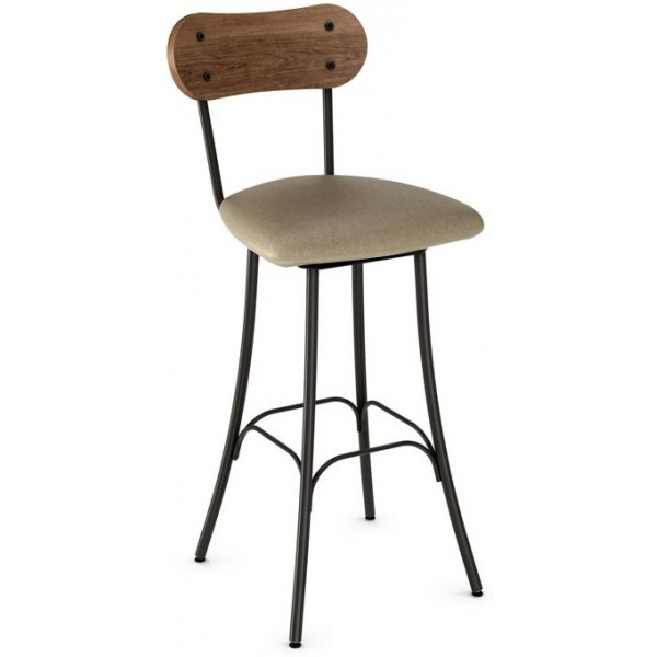 Industrial Restaurant Bar Stools Bean Swivel Barstool - Upholstered Seat and Wood Back