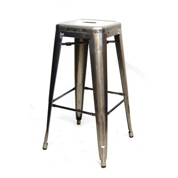 Industrial Restaurant Bar Stools Edison Backless Bar Stool - Pewter Finish