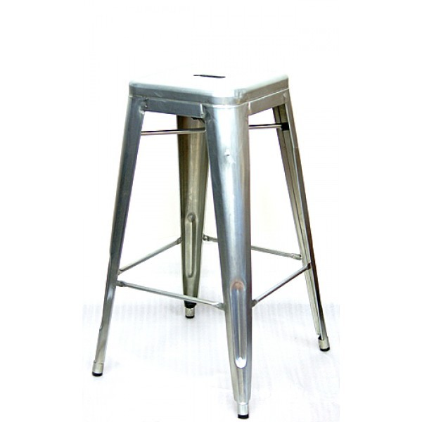 Industrial Restaurant Bar Stools Edison Backless Bar Stool - Silver Finish