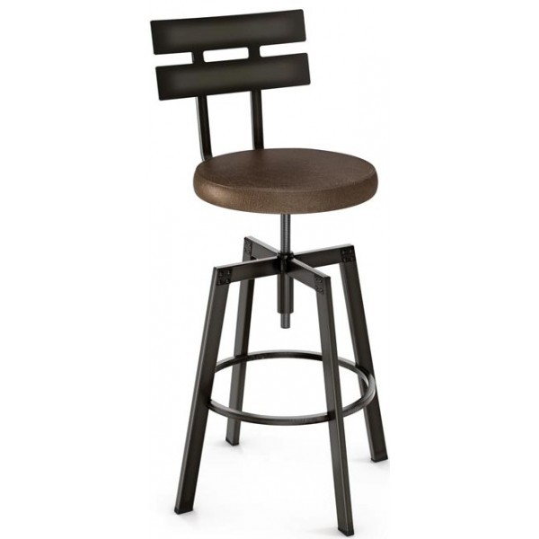 Industrial Restaurant Barstools Knowlton Screw Barstool - Upholstered Seat