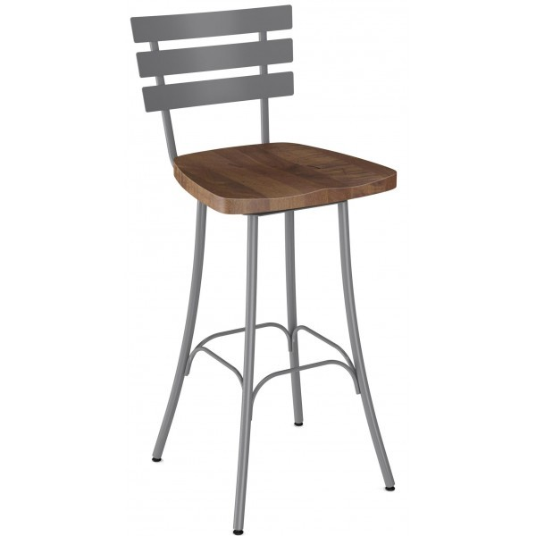 Industrial Restaurant Bar Stools Unity Swivel Barstool With Wood Seat Metal Back