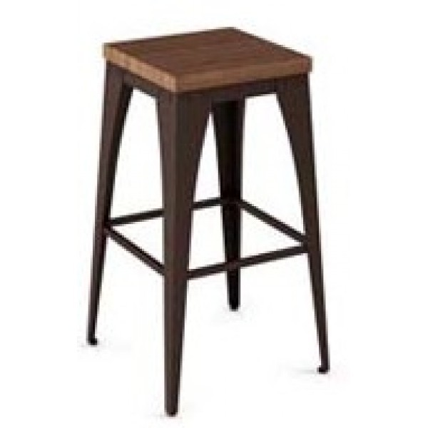 Industrial Restaurant Barstools Upright Backless Barstool - Wood Seat