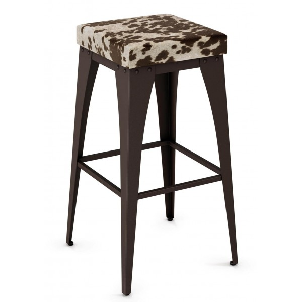 Industrial Restaurant Barstools Upright Backless Barstool - Upholstered Seat