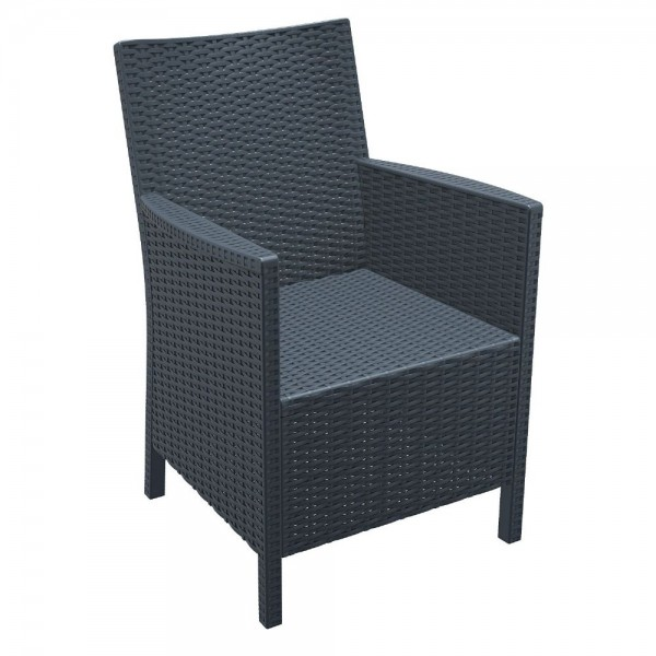 ISP806 California Woven Stacking Resin Restaurant Commercial Hospitality Cafe Patio Bar Arm Chair