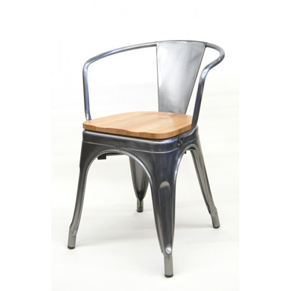 M7786w Industrial Stackable Commercial Restaurant Hospitality Tolix Edison Dining Arm Chairs Wood Seat