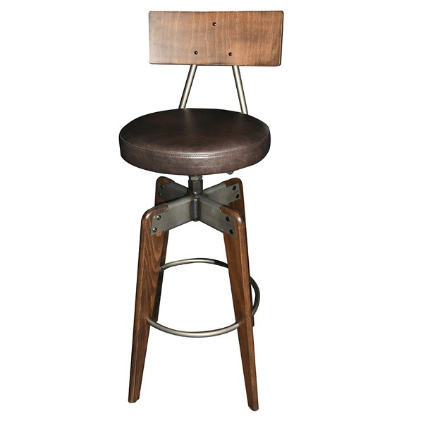 mj-373 CFC-373 Industrial Rustic Commercial Restaurant  Indoor Wood and Metal Bar Stool