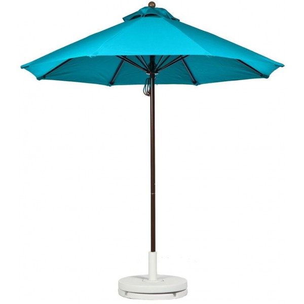 Commercial Restaurant Umbrellas 9 Foot Fiberglass Market Umbrella With Aluminum Pole - Pulley Lift