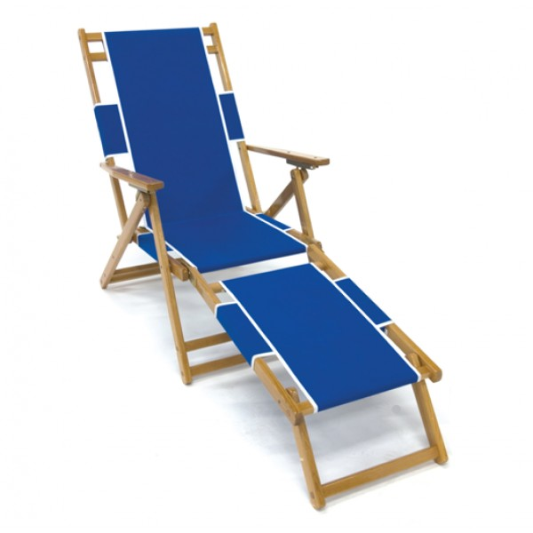 Oak Wood Beach Lounger With Footrest
