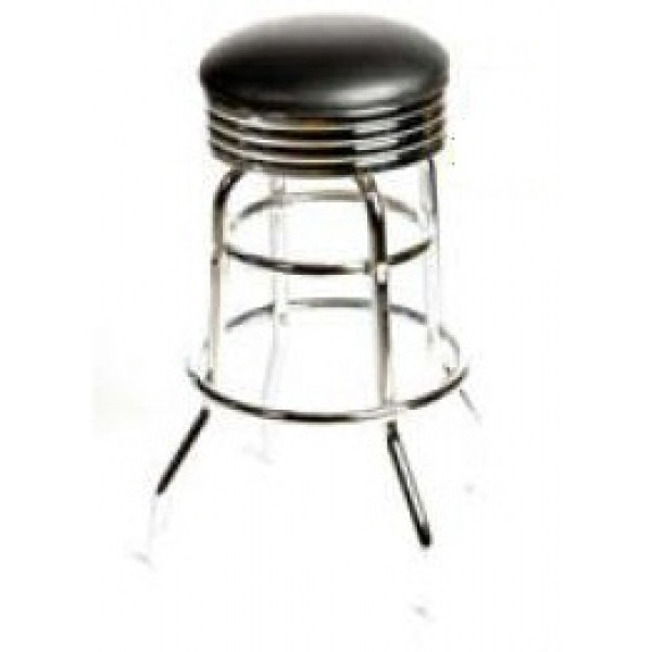 Fine Retro Bar Stool With Double Rung Chrome Frame Black Sl2131 Blk Onthecornerstone Fun Painted Chair Ideas Images Onthecornerstoneorg