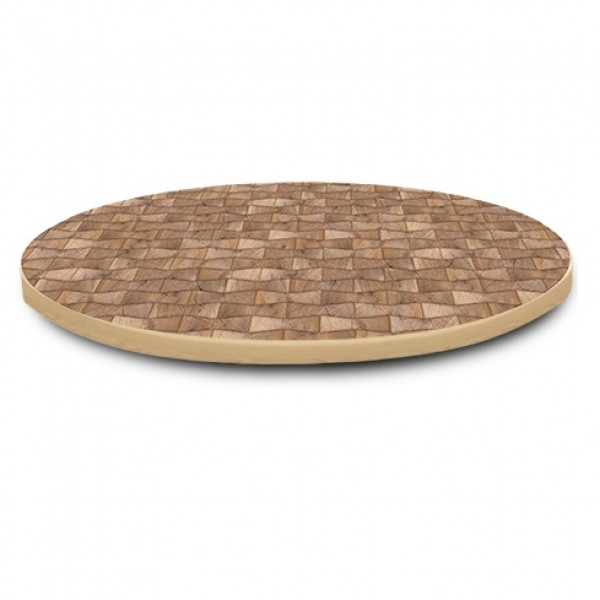 round Overlay Edge laminate and wood edge indoor restaurant cafe bar hospitality table top