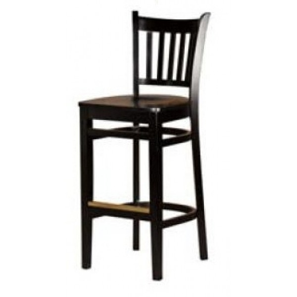 Solid Wood Vertical Back Bar Stool - Black WB102-BLK