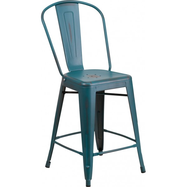 "Outdoor Industrial Restaurant Bar Stools Westinghouse 24"" Counter Stool"