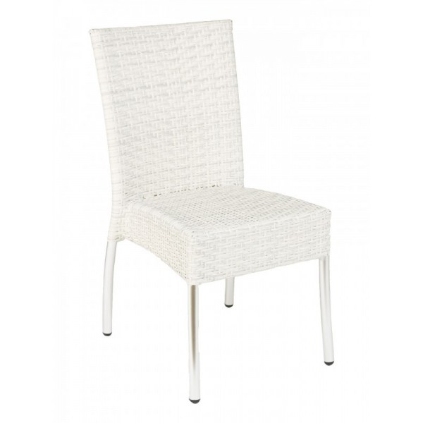 WIC-07 Floridian Modern White Woven Outdoor Commercial Coastal Stackable Side Chair