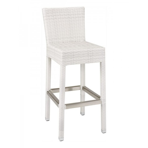WIC-07B Floridian Modern White Woven Outdoor Commercial Coastal Bar Stool