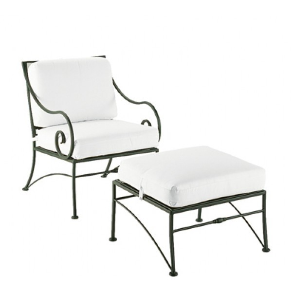 Wrought Iron Hospitality Lounge Chairs Sheffield Ottoman with Cushion