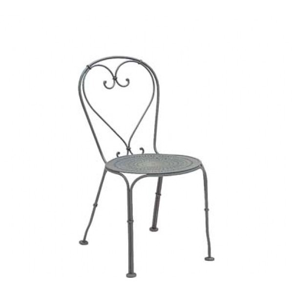 Wrought Iron Restaurant Chairs Parisienne Side Chair - Pattern Metal Seat